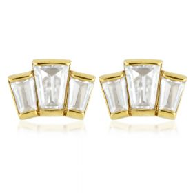24k Gold Triple Gem Steel Stud Earrings (Pair)