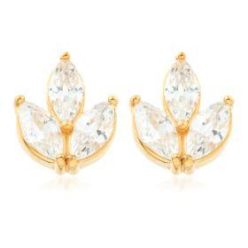 24k Gold Gem Triple Marquise Steel Stud Earrings (Pair)
