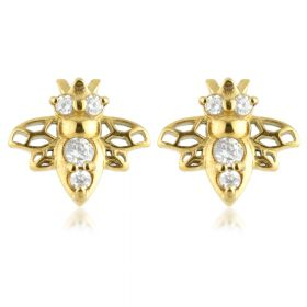 24k Gold Gem Bee Steel Stud Earrings (Pair)