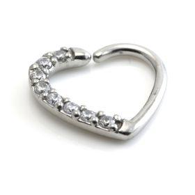 Steel Pave Gem Heart Ring