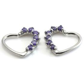 Steel Multi Gem Heart Ring