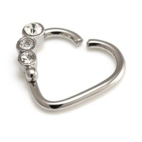 Steel Gem Heart Ring