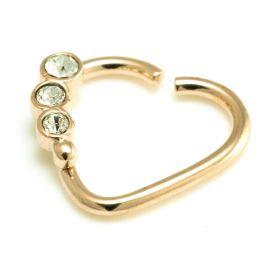 Zircon Gold Steel Gem Heart Ring