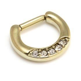 Zircon Gold Steel Pave Jewelled Septum Ring
