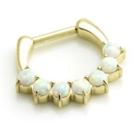 Zircon Gold Steel Opal Daith Ring
