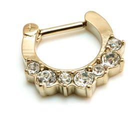 Zircon Gold Steel Jewelled Septum Ring