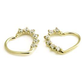 Zircon Gold Steel Multi Gem Heart Ring