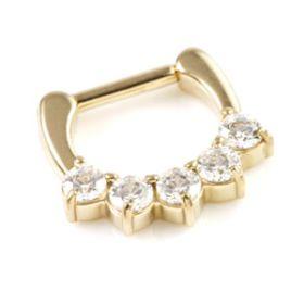 Zircon Gold Steel Jewelled Daith Ring
