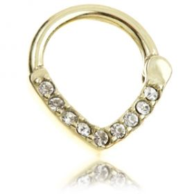 Zircon Gold Steel Jewelled V Daith Ring
