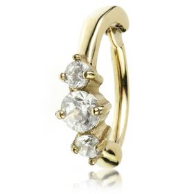 Zircon Gold Steel Hinged Claw Gem Rook Ring
