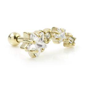 Zircon Gold Steel Graduated Star Cartilage Bar