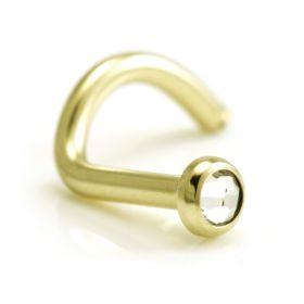 Zircon PVD Gold Gem Disk Nose Stud