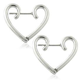 Steel Heart Hoop Earrings (Pair)