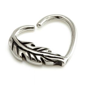 Steel Feather Heart Ring