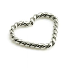 Steel Twisted Heart Ring