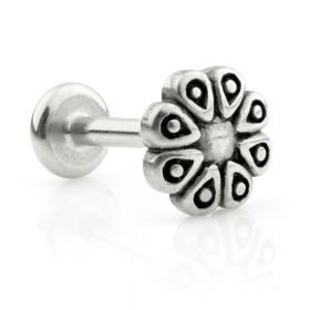 Ti Couture Internal Steel Labrets with Steel Flower