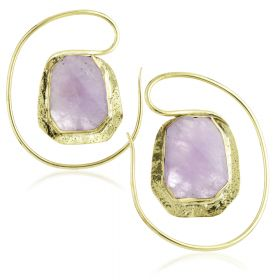Mandala Jewellery - Amethyst Brass Oval Pull Through Earrings (Pair)