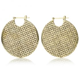 Mandala Jewellery - Massive Disk Brass Hoop Earrings (Pair)