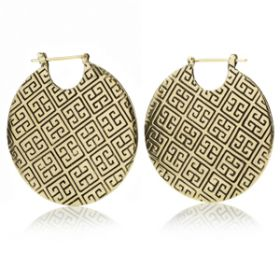 Mandala Jewellery - Massive Patterned Disk Brass Hoop Earrings (Pair)
