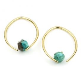 Mandala Jewellery -Chrysocolla Brass Marquese Pull Through Earrings (pair)