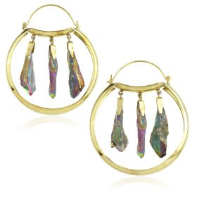 Mandala Jewellery - Purple Rainbow Quartz Crystal Brass Hoop Earrings (Pair)