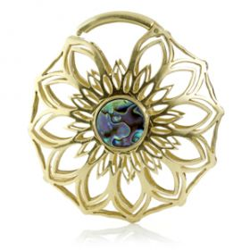 Mandala Jewellery - Shell & Brass Hinged Ear Flower (individual)
