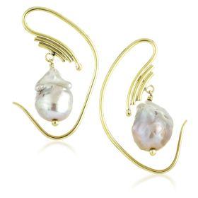 Mandala Jewellery - Natural Pearl Oval Pull Through Earrings (Pair)