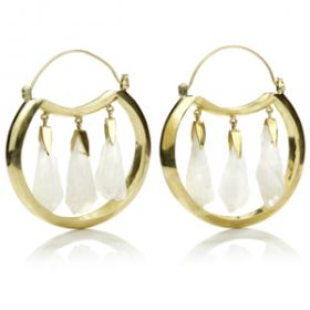 Mandala Jewellery - Quartz Crystal Brass Hoop Earrings (Pair)
