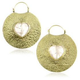 Mandala Jewellery - Rose Quartz Heart Stone Brass Disk Earrings (Pair)