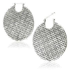 Mandala Jewellery - Massive Disk Silver Brass Hoop Earrings (Pair)