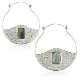 Mandala Jewellery - Kyanite Stone Half Disk Silver Plate Hoop Earrings (Pair)