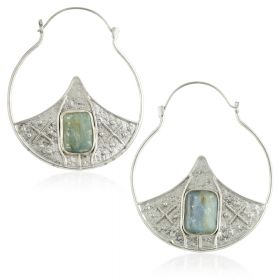 Mandala Jewellery - Kyanite Stone Pointed Half Disk Silver Plate Hoop Earrings (Pair)