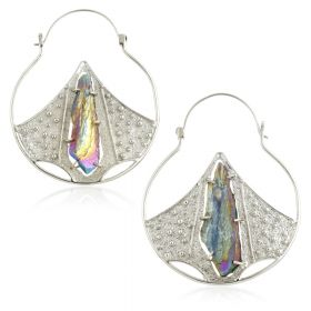 Mandala Jewellery - Purple Rainbow Quartz Crystal Pointed Half Disk Silver Plate Hoop Earrings (Pair)