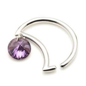 Silver Lilac Gem Moon Ring