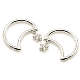 Silver Hanging Flower Moon Ring