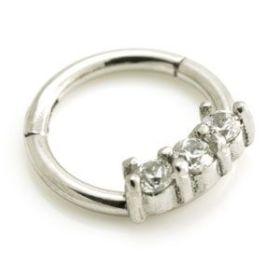 Steel Small Forward 3 Gem Hinged Micro Ring - 1.2mm