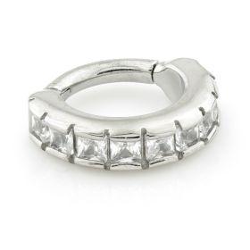 Micro Steel Hinged Square Gem Eternity Ring 1.2mm