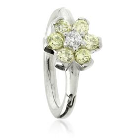 Steel Flower Gem Hinged Micro Ring with Coloured Petals