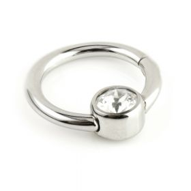 Steel Hinge 4mm Gem Disk BCR Ring