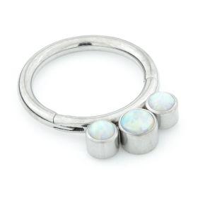 Titanium Tri Opal Hinged Segment Ring