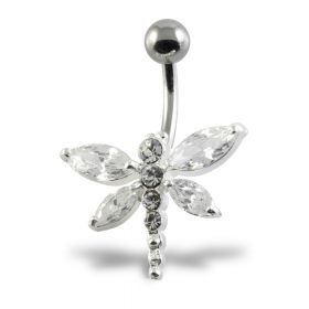 Large Dragonfly Silver & Steel Navel