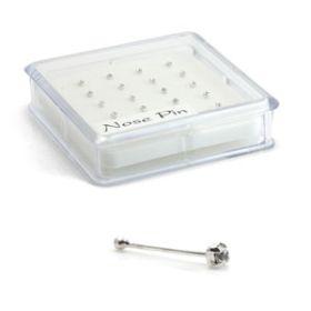 20x Silver Crystal Gems - Straight Ball Back - in Box