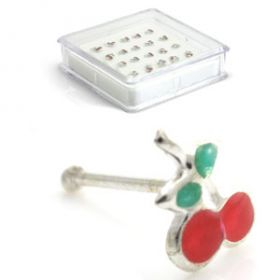 20x Silver Cherry Straight Ball Back - in Box