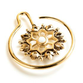 1x Brass Ear Weight Mandala with Opal