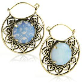 Opalite Stone Brass Disk Hoop Earrings (Pair)