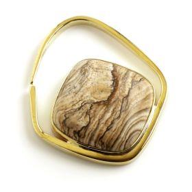 1x Picture Jasper Stone on Brass Surround Ear Pendant