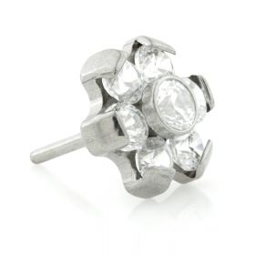 Titanium Threadless 6 Petal Gem Flower