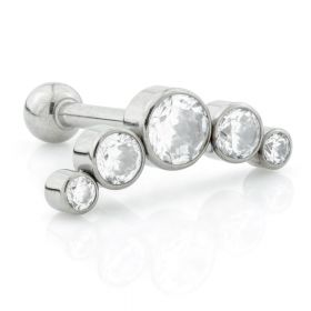 Threadless Ti Barbell with Gem Crescent Attachment