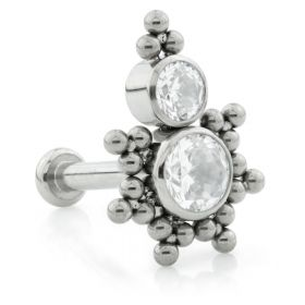 Ti Threadless Small Base Labret with Tribal Bead Gem Top