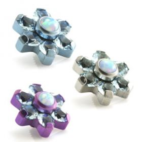 Titanium Blue Opal & Gem Micro Flower Top - 1.6mm